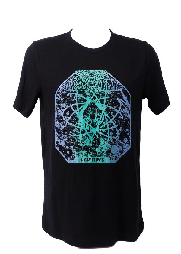 T-shirts are handmade with split fountain screen printing and glow-in-the-dark ink.